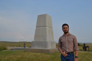The author standing in front of the monument to the 7th Cavalry