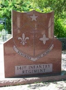 Historical marker, San Antonio, Texas, 141ST infantry Regiment, Bexar county